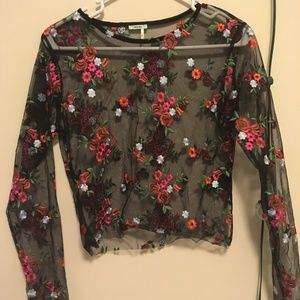 Kimchi Blue Floral Embroidered Sheer Long Sleeve T
